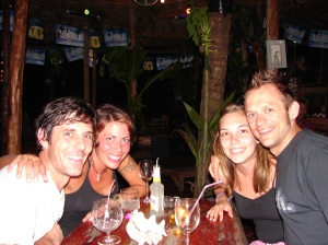 Drinks with friends.  Koh Chang, Thailand. Backpacking in 2006