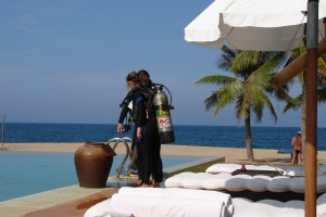 Learning to dive at the beautiful Evason Ana Mandara, Nha Trang, Vietnam. 2006