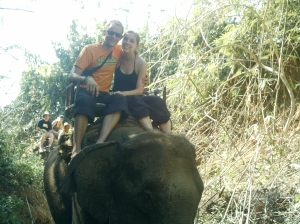 Sat on an elephant.  Chiang Mai Jungle Trek, Thailand.  Backpacking in 2006