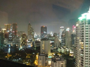 Plaza Athenee A Royal Meridien Hotel.  Luxury in Bangkok, Thailand.  Starwood brand  SPG Bangkok skyline