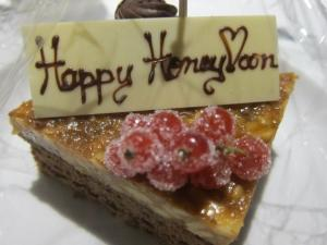 Honeymoon cake at Royal Orchid Sheraton hotel