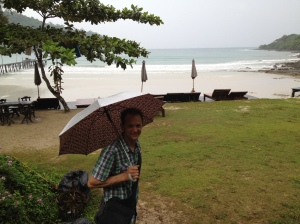 arriving in the rain at Koh Kood Resort