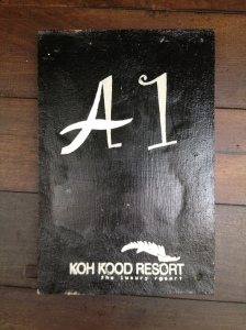 A1 room plaque at Koh Kood Resort