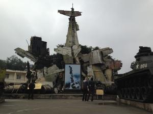 heap of war planes outside B52 Museum