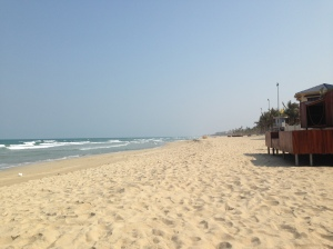 Long streches of empty beaches in Da Nang, Vietnam