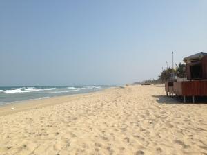 Long streches of empty beaches in Da Nang, Vietnam