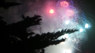 Fireworks over Bitterne Park. Britannia P&O celebrations. March 2015